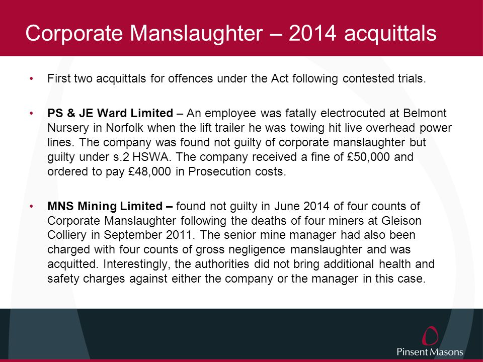 Corporate Manslaughter – 2014 acquittals