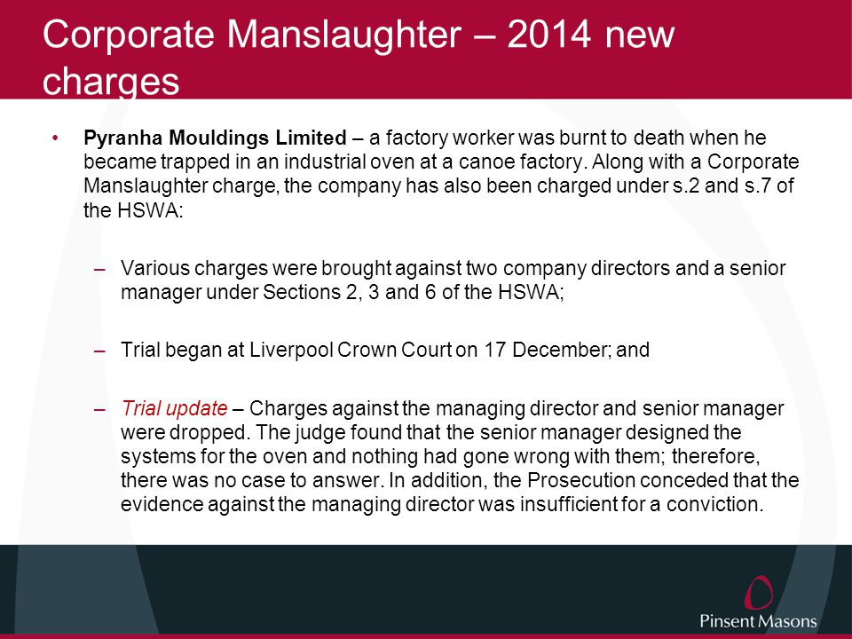 Corporate Manslaughter – 2014 new charges