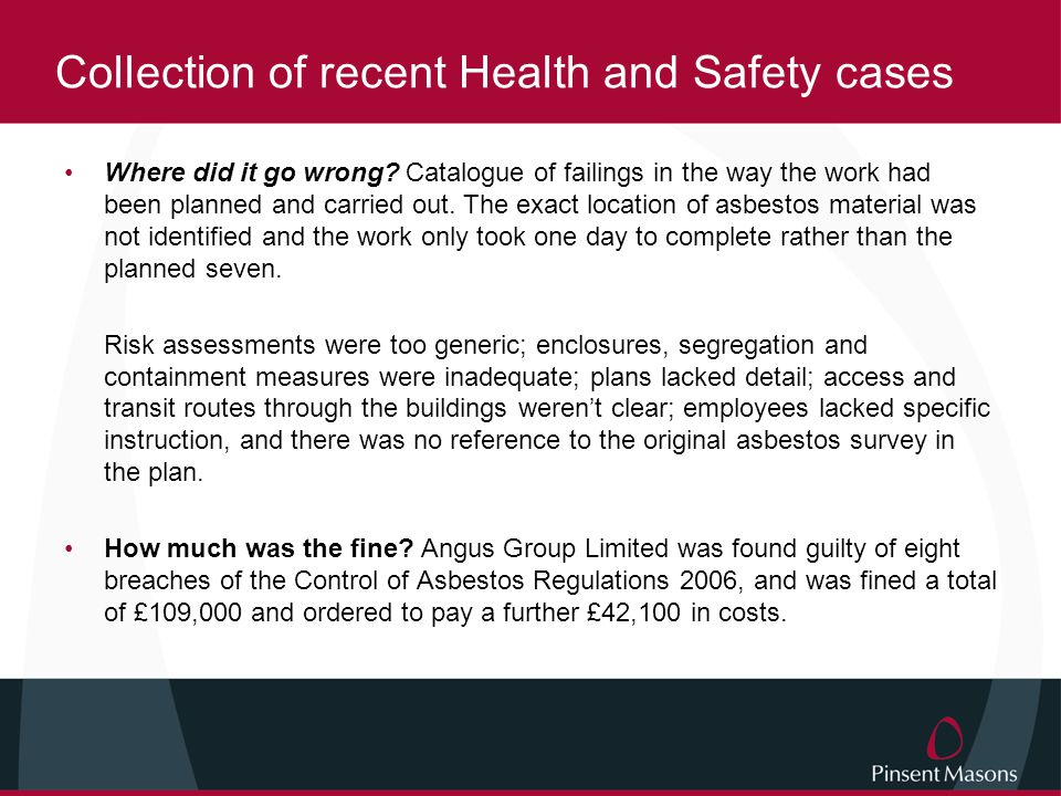 Collection of recent Health and Safety cases
