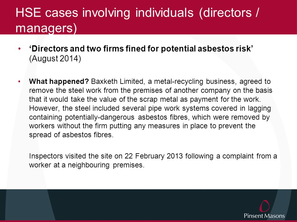 HSE cases involving individuals (directors / managers)