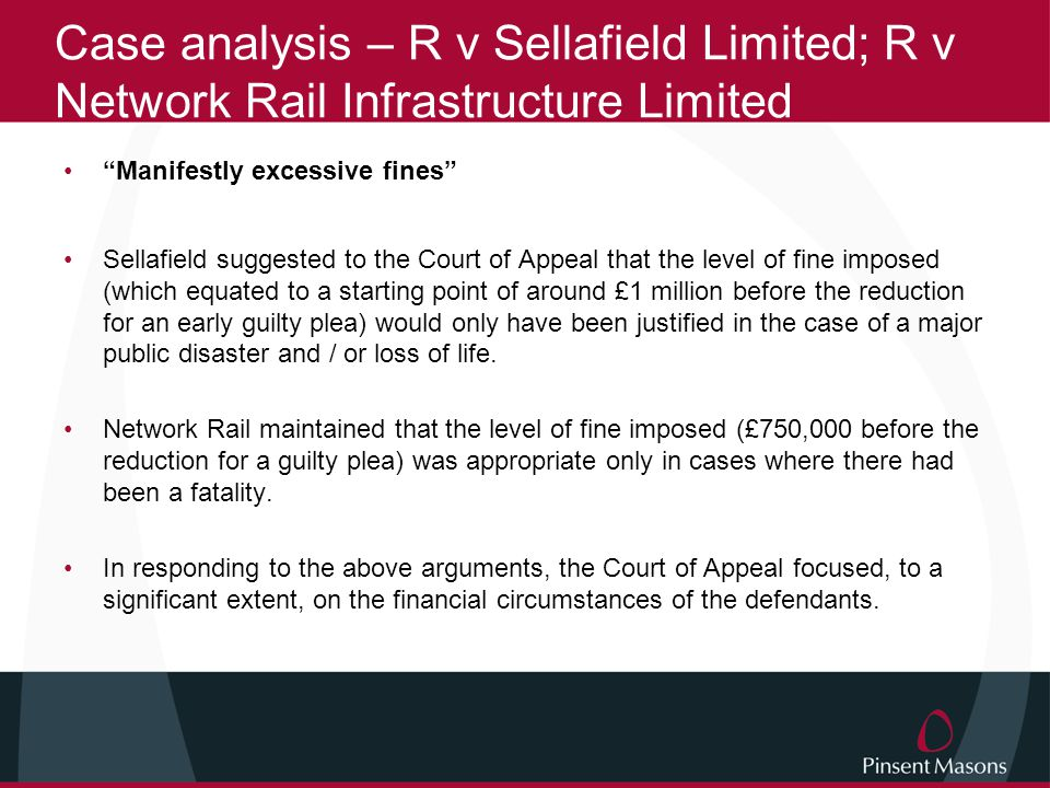 Case analysis – R v Sellafield Limited; R v Network Rail Infrastructure Limited