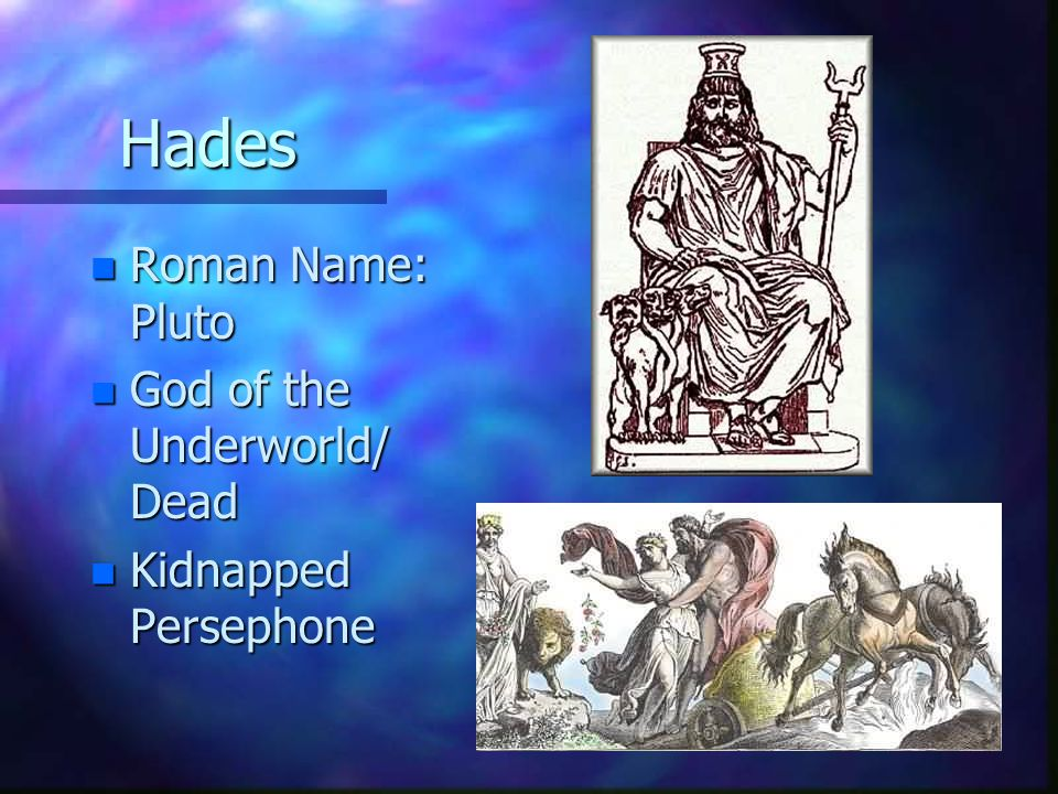 Hades Roman Name: Pluto God of the Underworld/ Dead