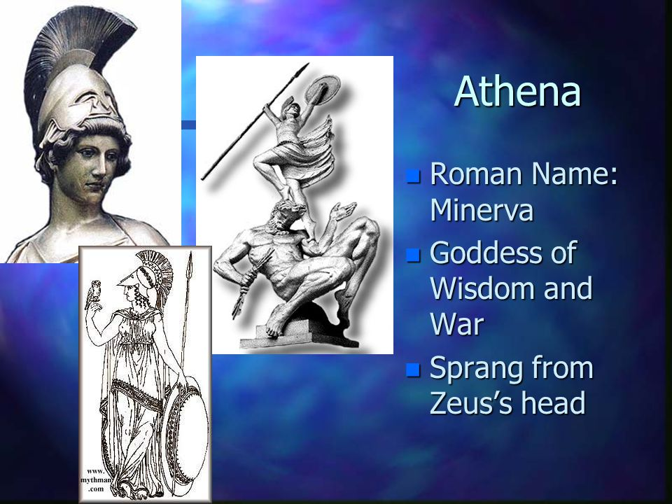 Athena Roman Name: Minerva Goddess of Wisdom and War