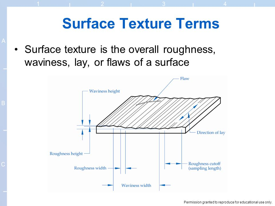 Surface Texture Terms Surface texture is the overall roughness, waviness, lay, or flaws of a surface.
