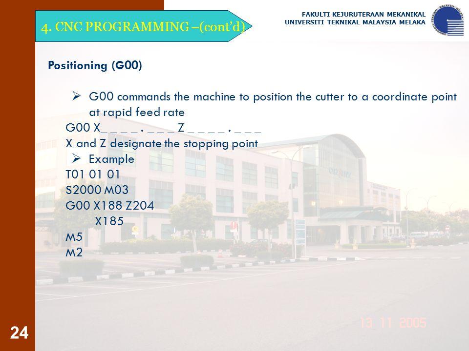 4. CNC PROGRAMMING –(cont'd)
