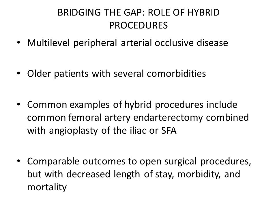 BRIDGING THE GAP: ROLE OF HYBRID PROCEDURES