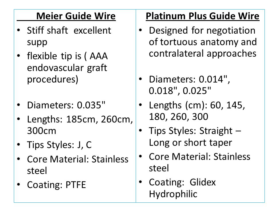 Meier Guide Wire Stiff shaft excellent supp. flexible tip is ( AAA endovascular graft procedures)