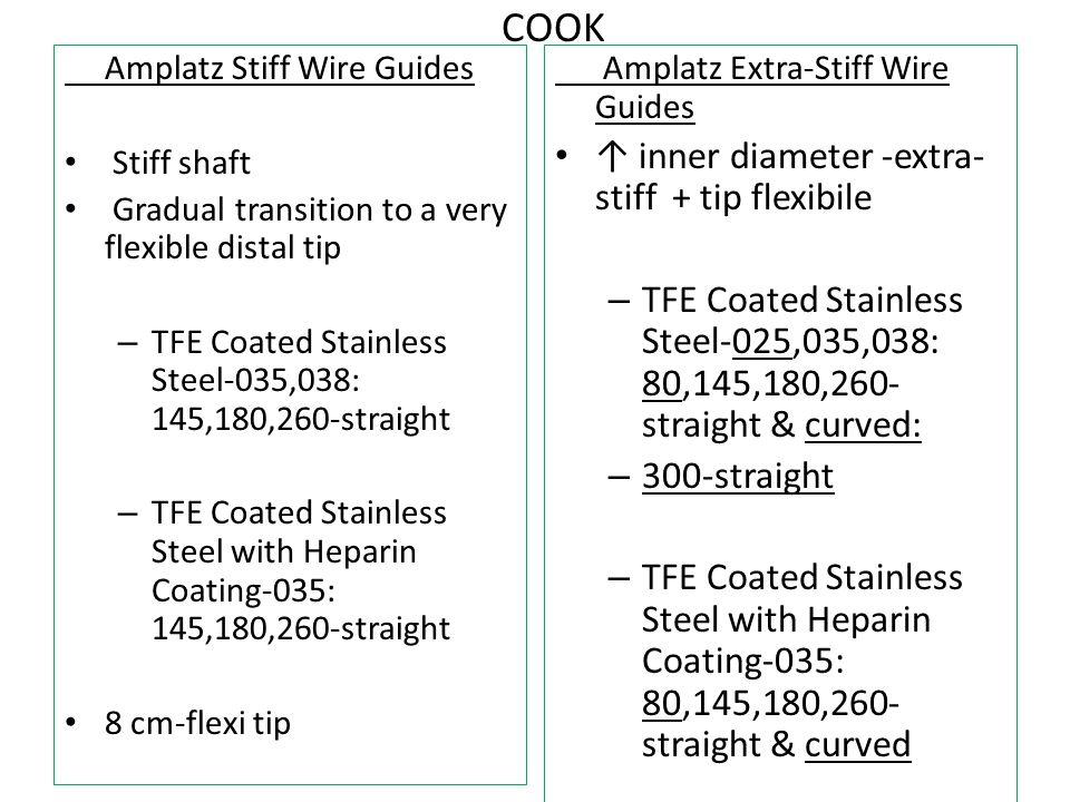 COOK ↑ inner diameter -extra-stiff + tip flexibile