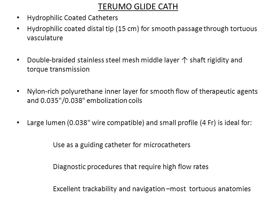 TERUMO GLIDE CATH Hydrophilic Coated Catheters