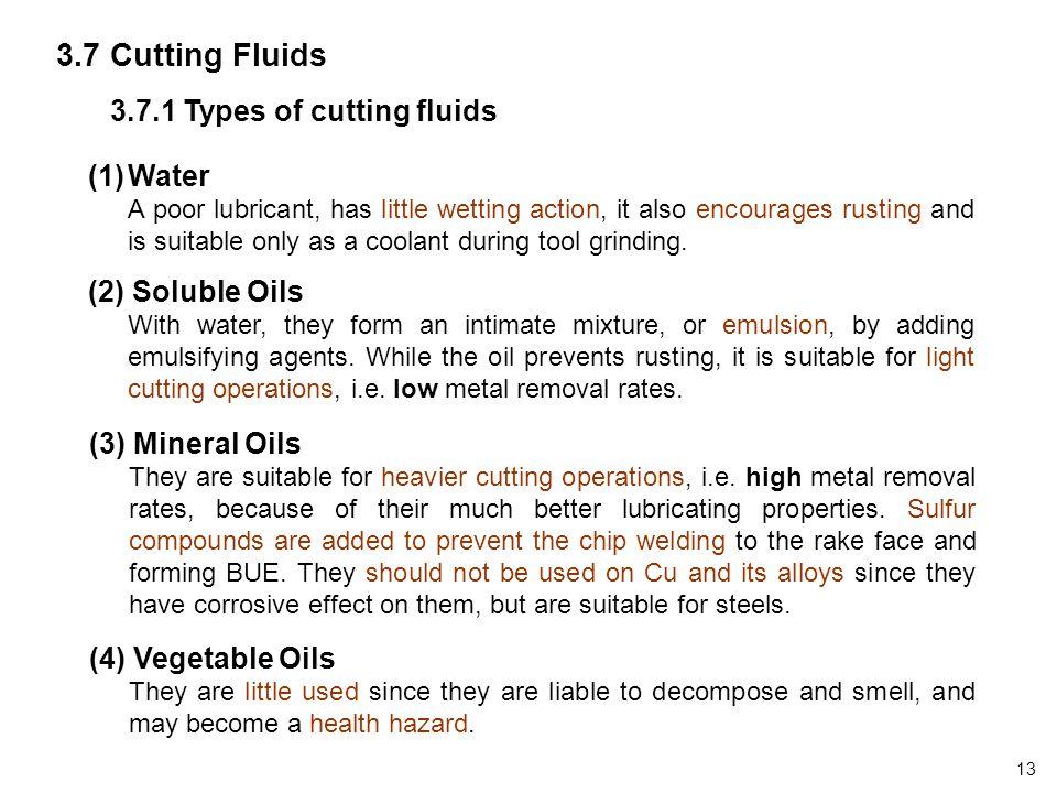 3.7 Cutting Fluids 3.7.1 Types of cutting fluids Water