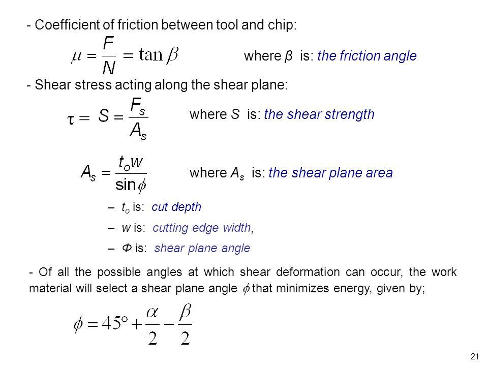 τ = - Coefficient of friction between tool and chip: