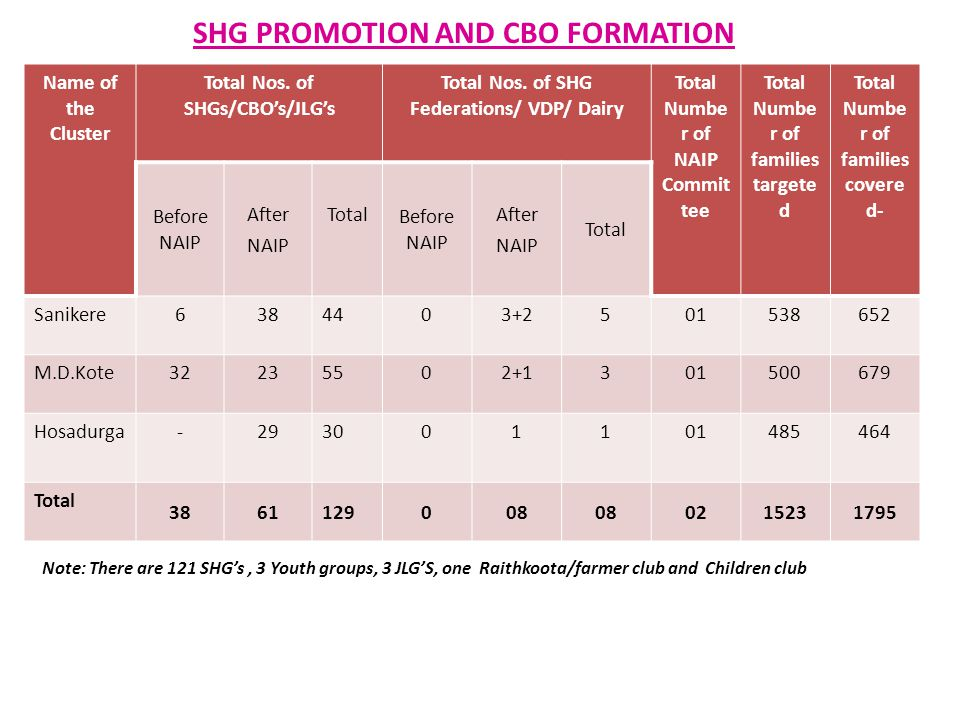 SHG PROMOTION AND CBO FORMATION