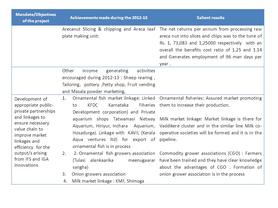 Mandate/Objectives of the project Achievements made during the 2012-13