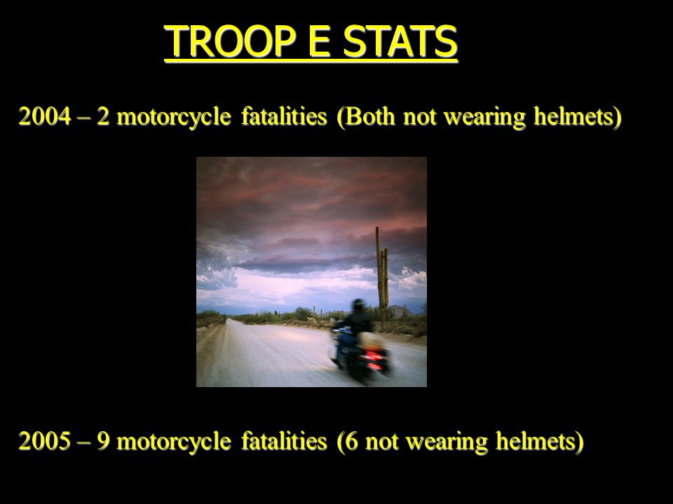 TROOP E STATS 2004 – 2 motorcycle fatalities (Both not wearing helmets) 2005 – 9 motorcycle fatalities (6 not wearing helmets)