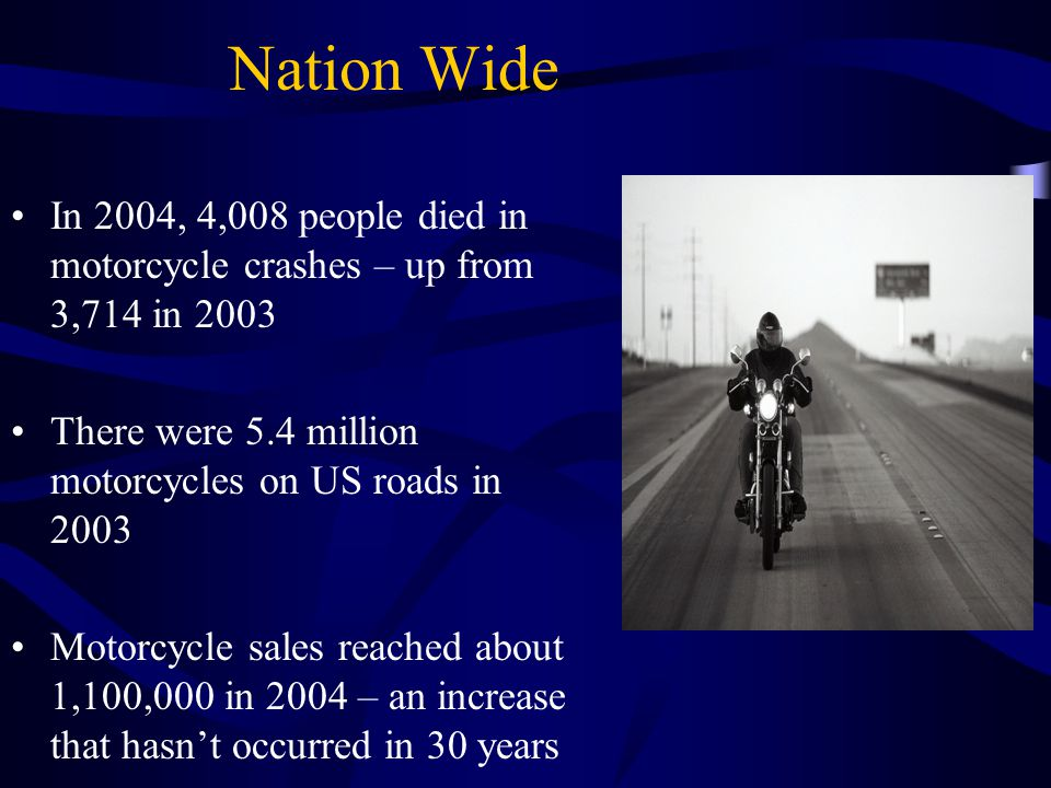 Nation Wide In 2004, 4,008 people died in motorcycle crashes – up from 3,714 in 2003. There were 5.4 million motorcycles on US roads in 2003.