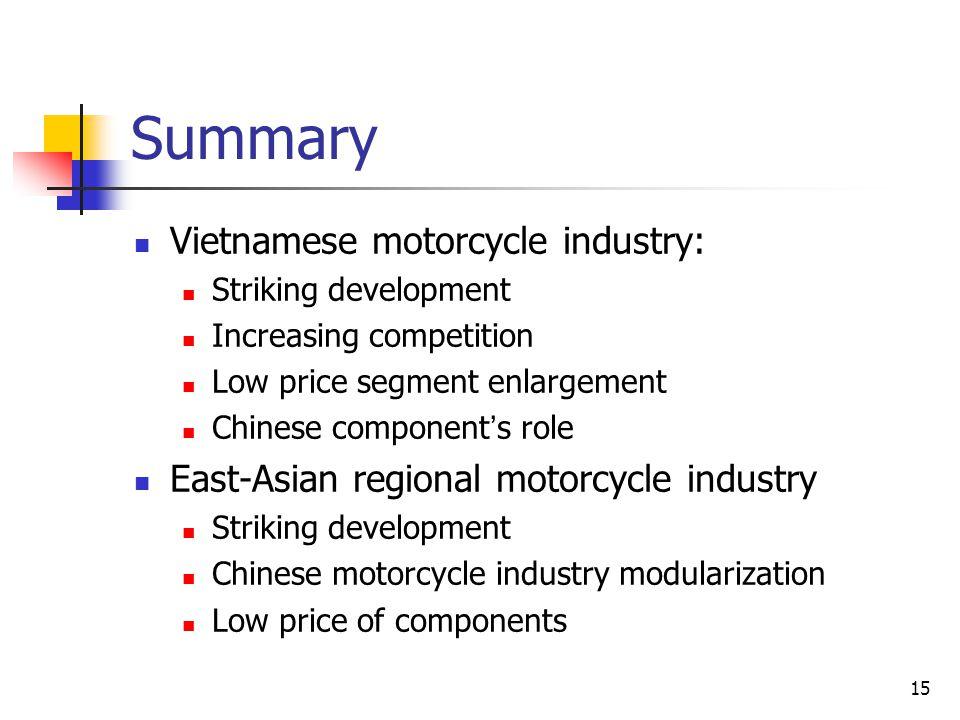 Summary Vietnamese motorcycle industry: