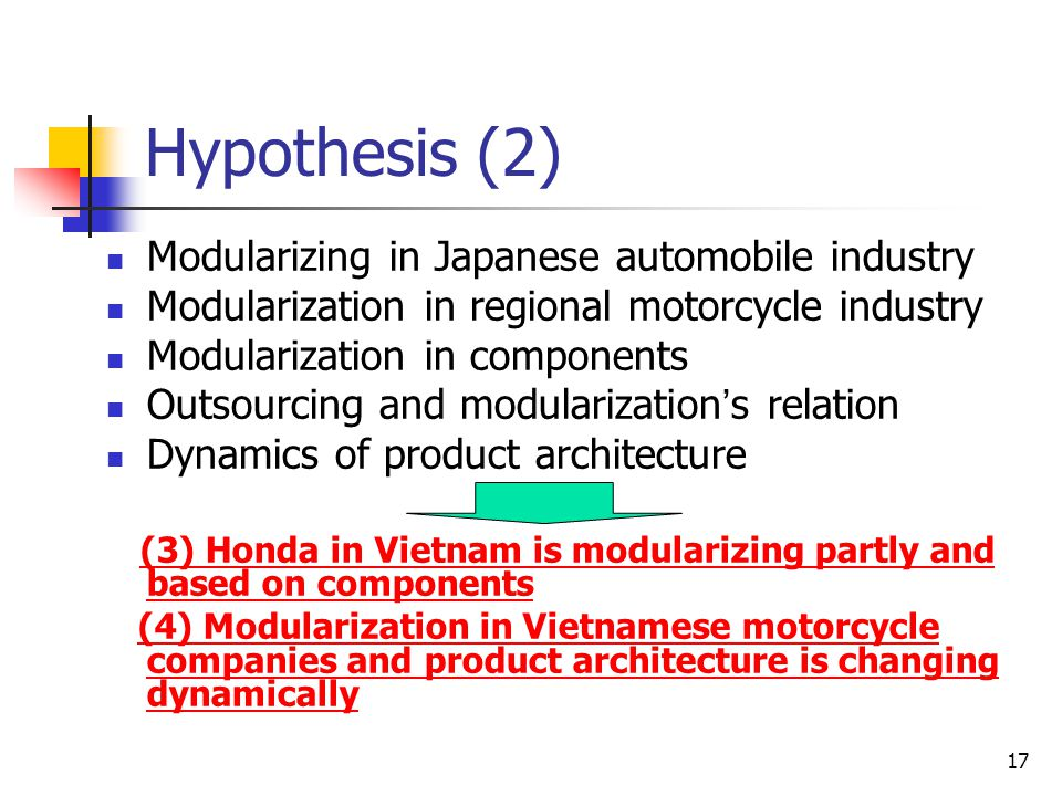 Hypothesis (2) Modularizing in Japanese automobile industry