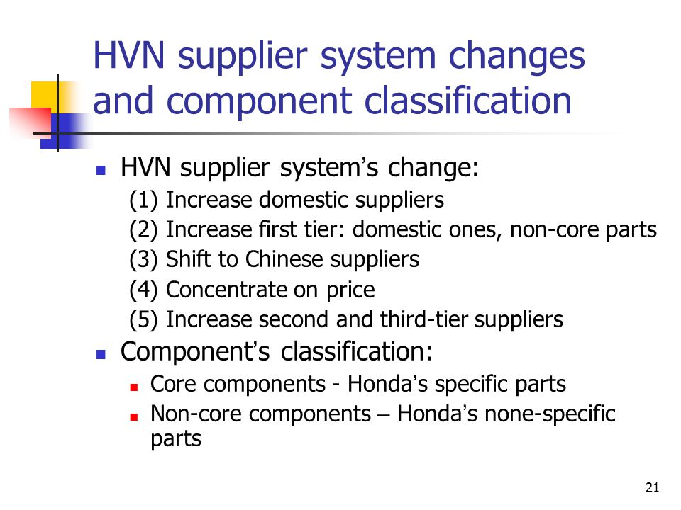 HVN supplier system changes and component classification