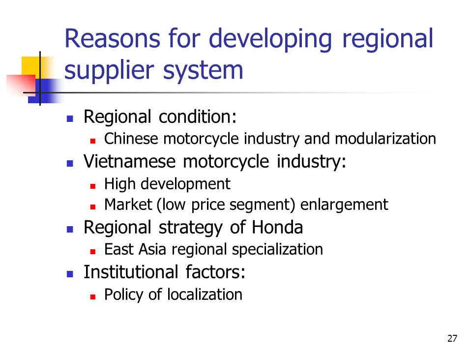 Reasons for developing regional supplier system