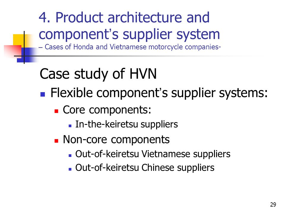 4. Product architecture and component's supplier system – Cases of Honda and Vietnamese motorcycle companies-