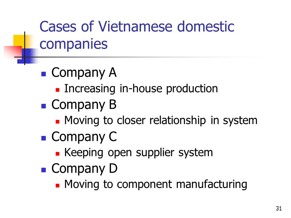 Cases of Vietnamese domestic companies