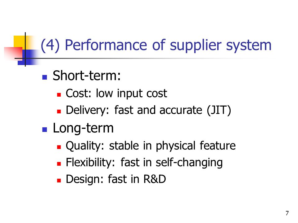 (4) Performance of supplier system