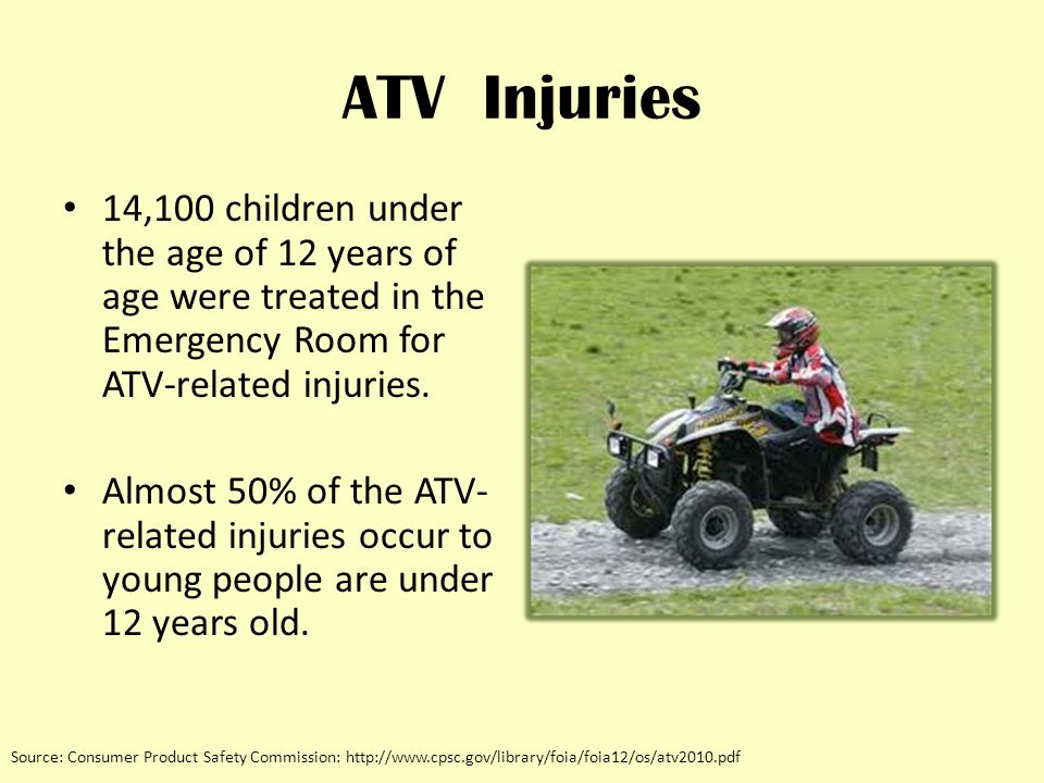 ATV Injuries 14,100 children under the age of 12 years of age were treated in the Emergency Room for ATV-related injuries.