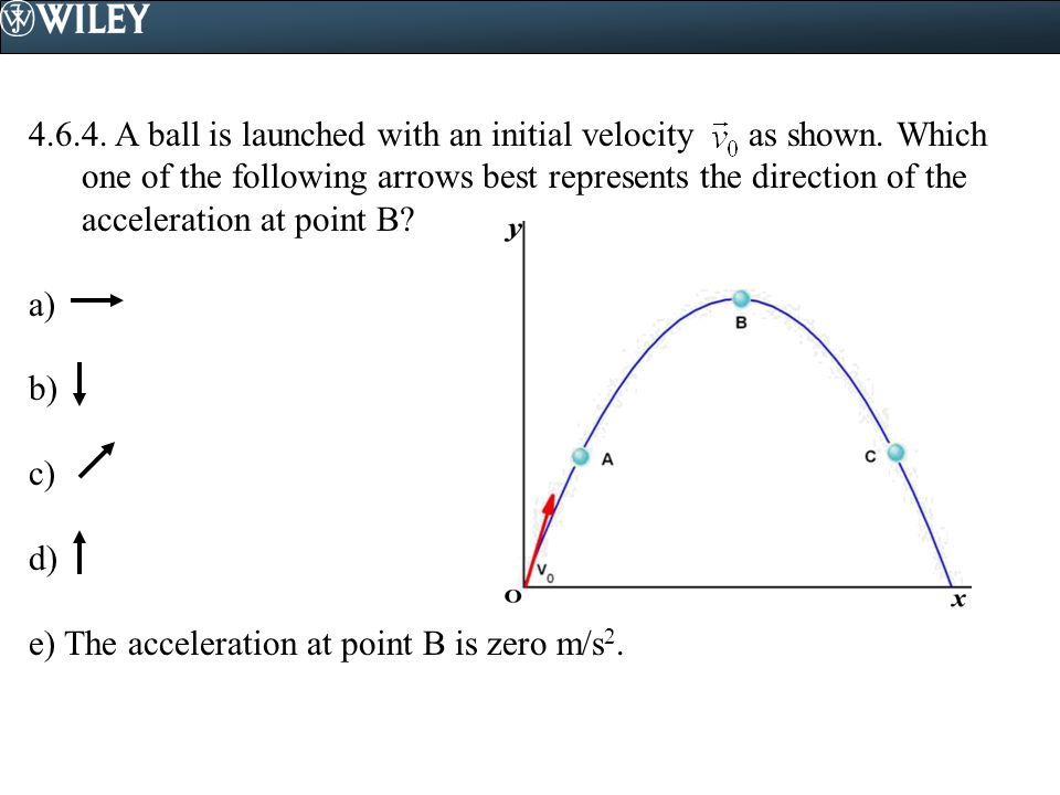 4. 6. 4. A ball is launched with an initial velocity as shown