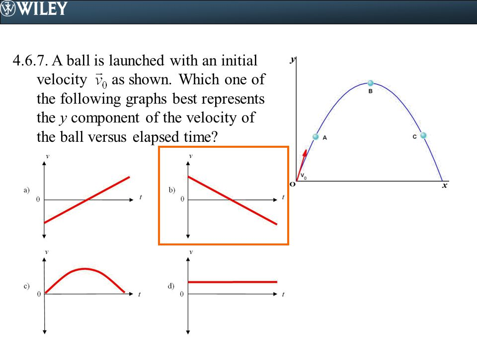 4. 6. 7. A ball is launched with an initial velocity as shown