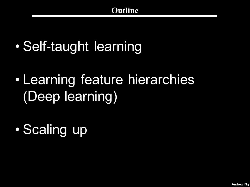 Learning feature hierarchies (Deep learning)