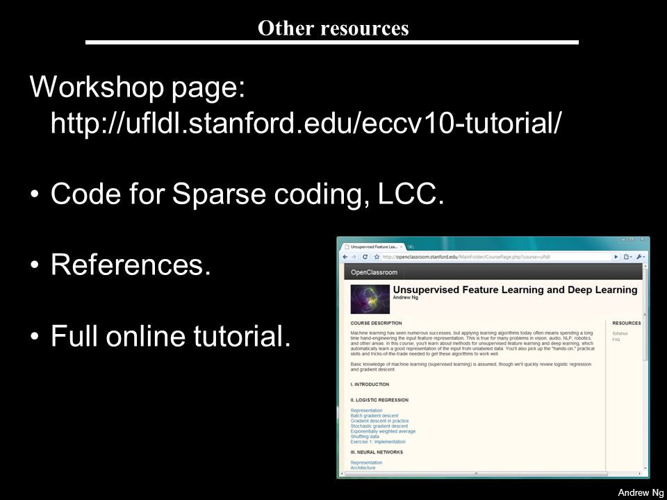 Workshop page: http://ufldl.stanford.edu/eccv10-tutorial/