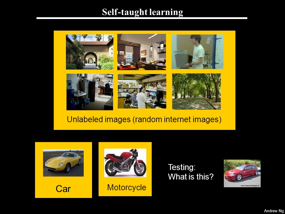 Self-taught learning Car Unlabeled images (random internet images)