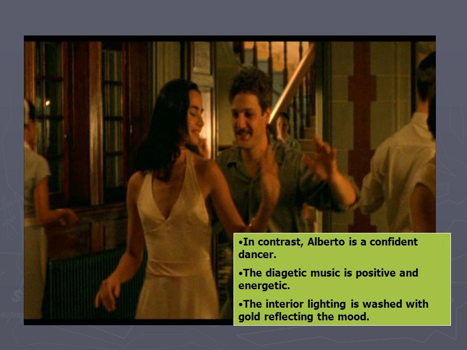 In contrast, Alberto is a confident dancer.