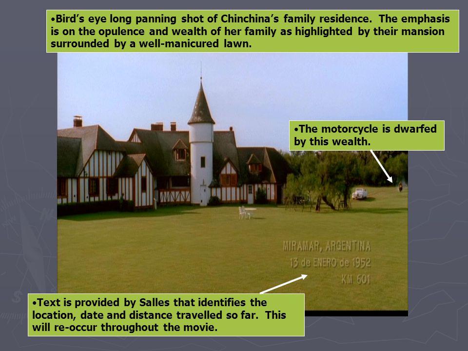 Bird's eye long panning shot of Chinchina's family residence