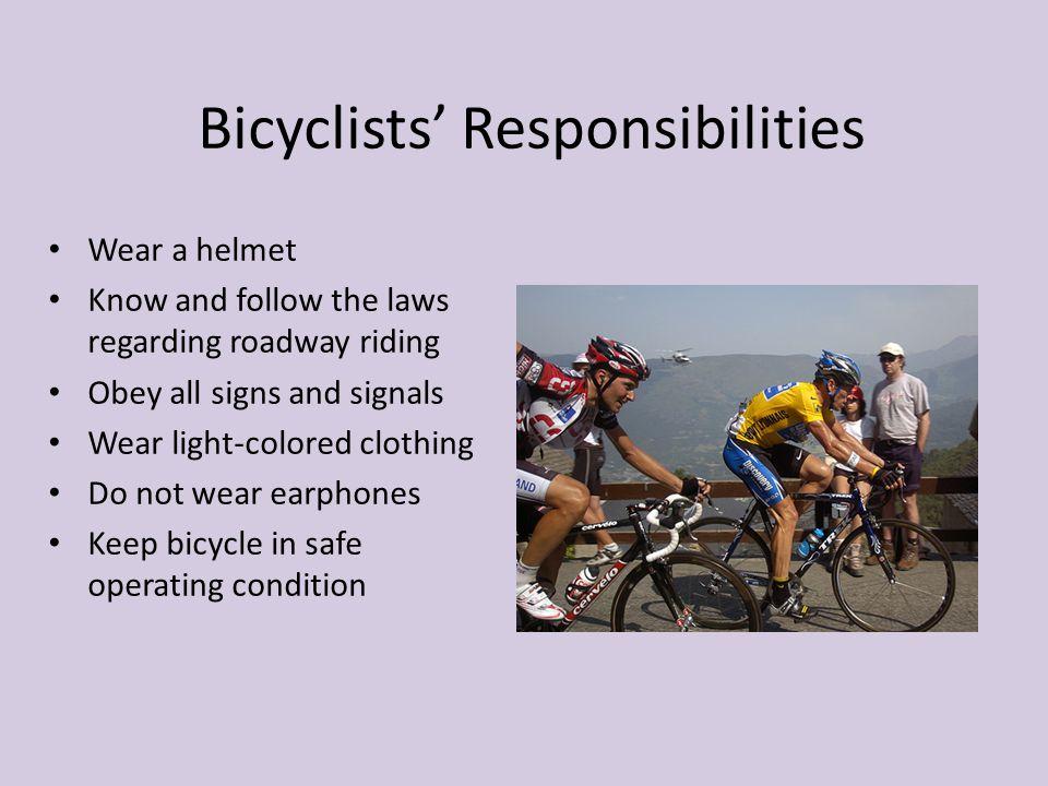 Bicyclists' Responsibilities