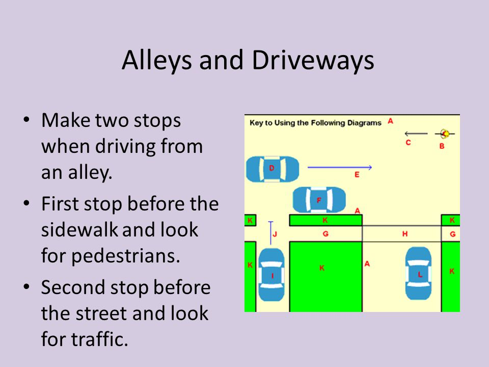 Alleys and Driveways Make two stops when driving from an alley.