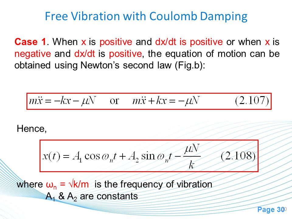 Free Vibration with Coulomb Damping