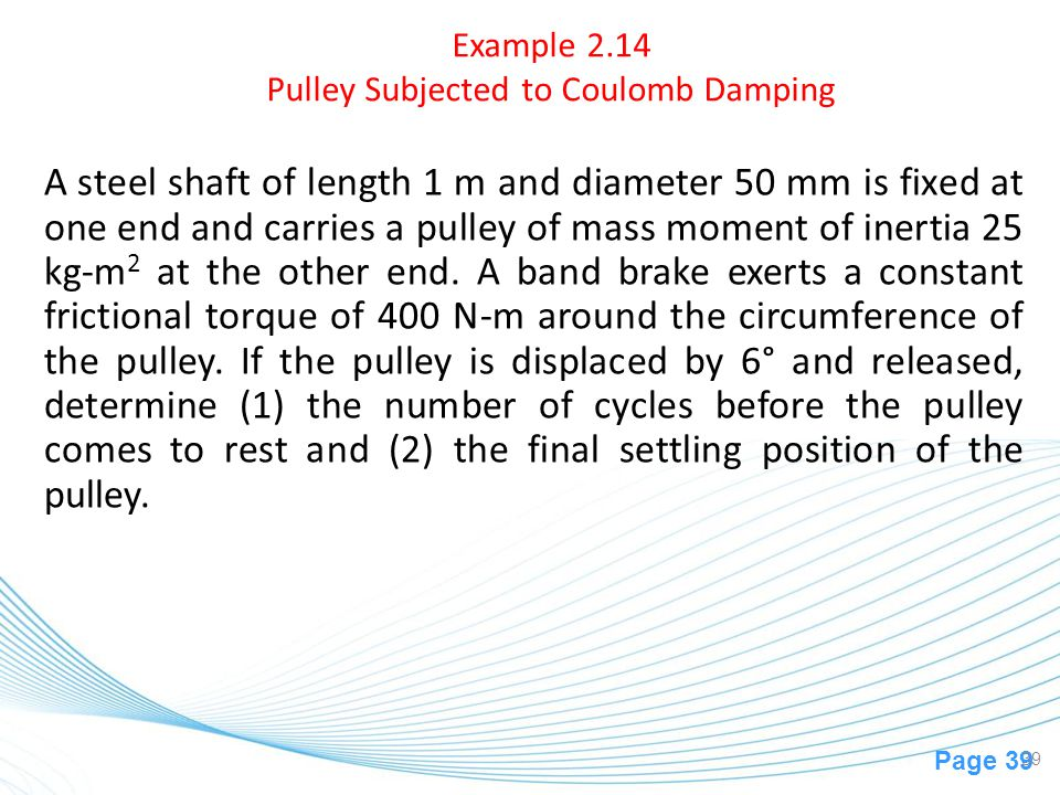 Example 2.14 Pulley Subjected to Coulomb Damping
