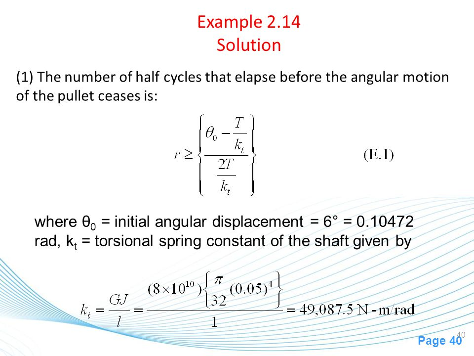 Example 2.14 Solution (1) The number of half cycles that elapse before the angular motion of the pullet ceases is: