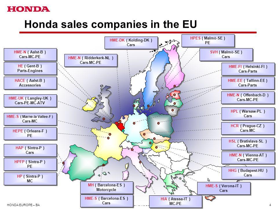Honda sales companies in the EU