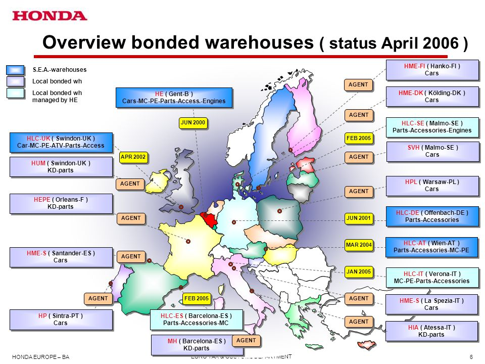 Overview bonded warehouses ( status April 2006 )