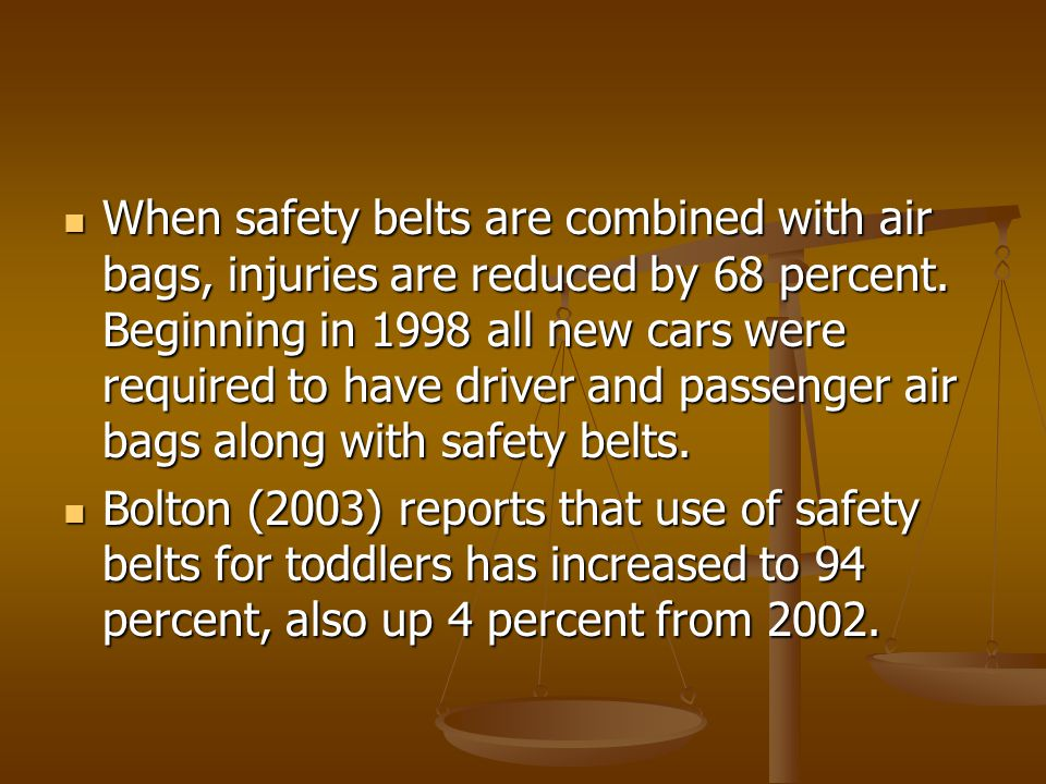 When safety belts are combined with air bags, injuries are reduced by 68 percent. Beginning in 1998 all new cars were required to have driver and passenger air bags along with safety belts.