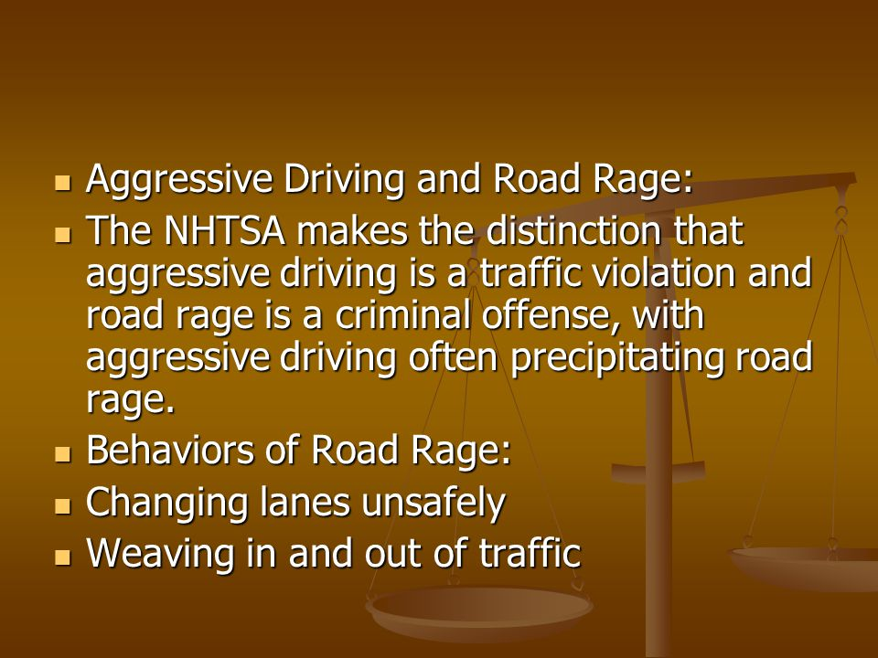 Aggressive Driving and Road Rage: