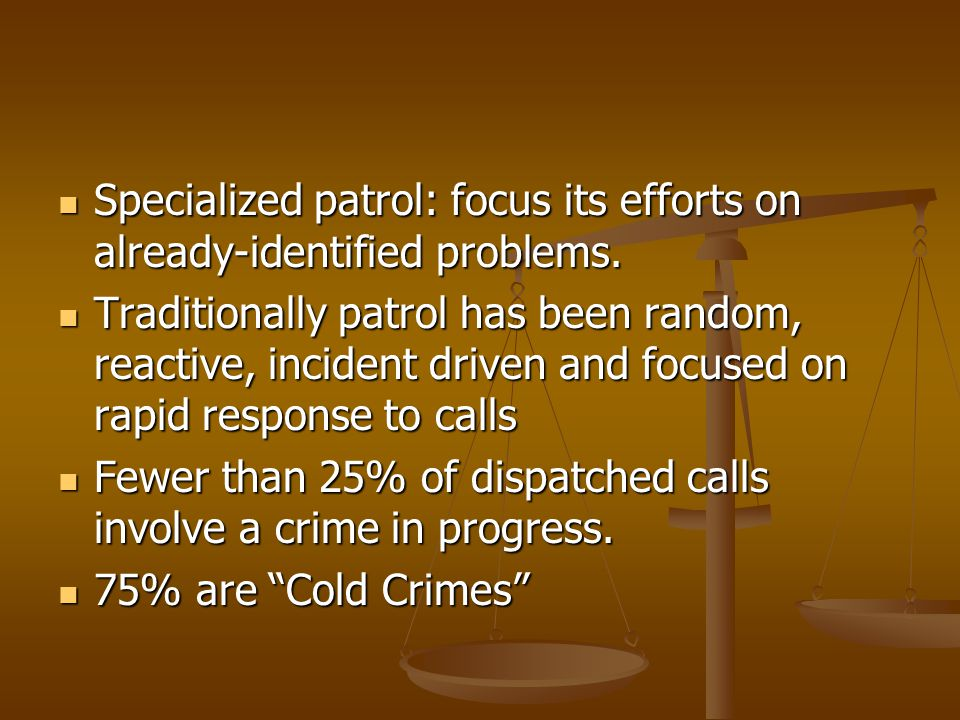 Specialized patrol: focus its efforts on already-identified problems.