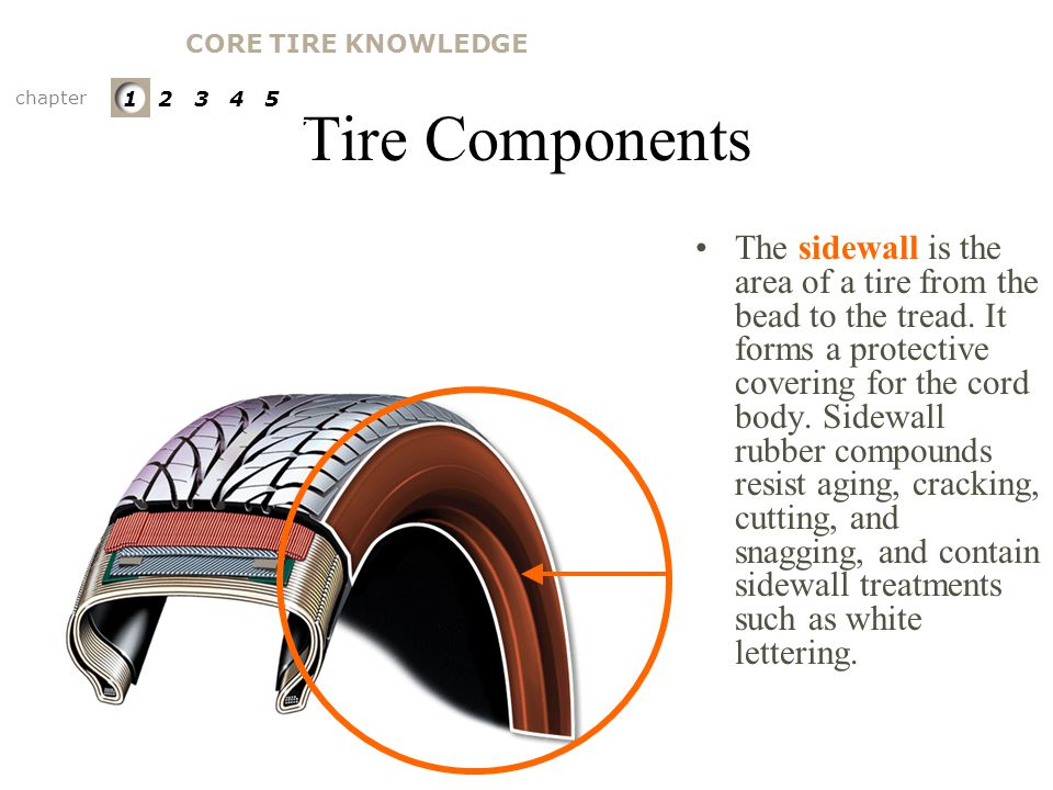 CORE TIRE KNOWLEDGE Tire Components. chapter. 1 2 3 4 5. PARTS OF A TIRE. Sidewall.