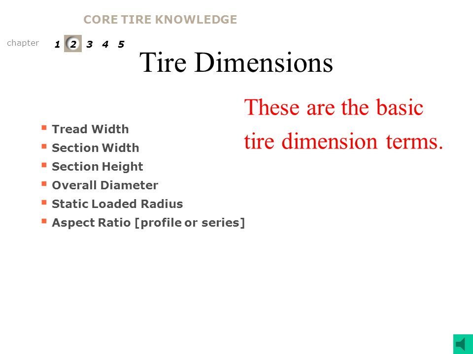 Tire Dimensions These are the basic tire dimension terms.