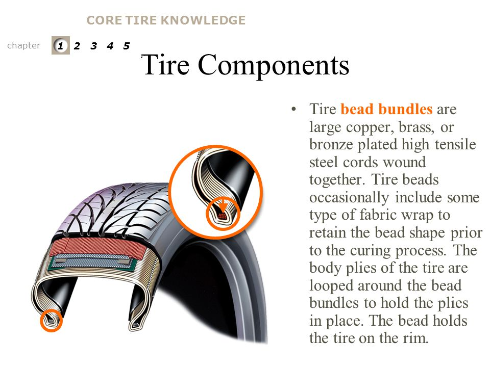 CORE TIRE KNOWLEDGE Tire Components. chapter. 1 2 3 4 5. PARTS OF A TIRE. Bead Bundles.