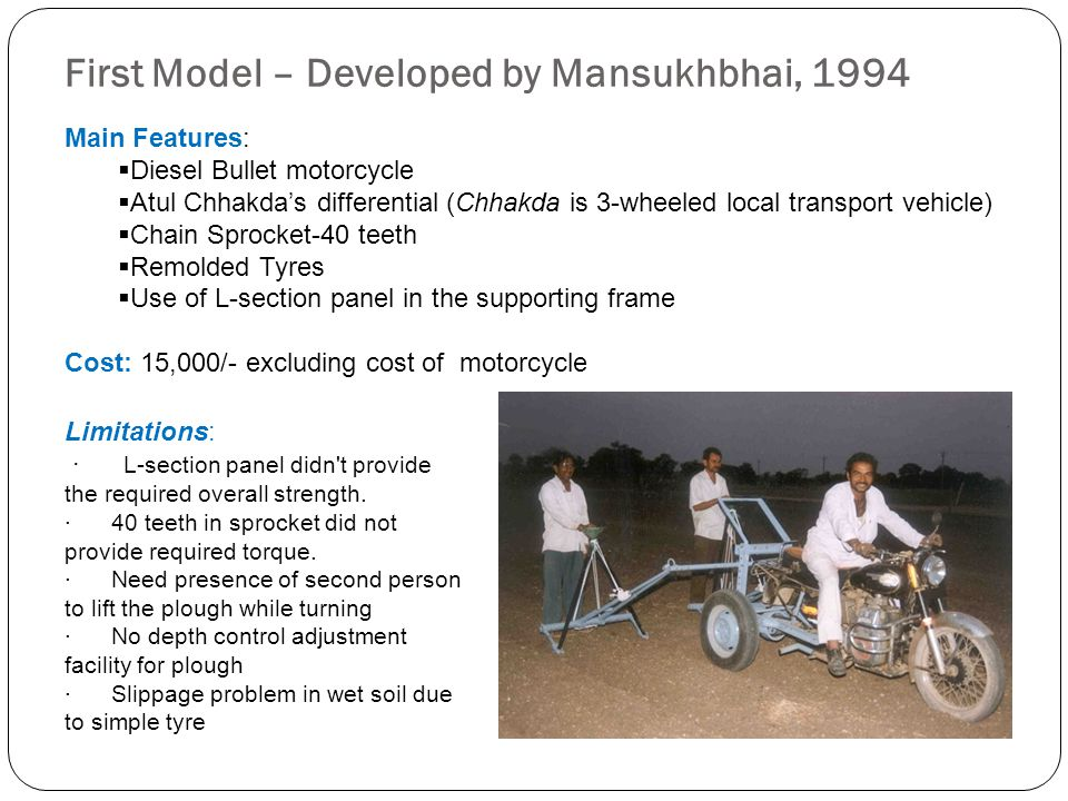First Model – Developed by Mansukhbhai, 1994