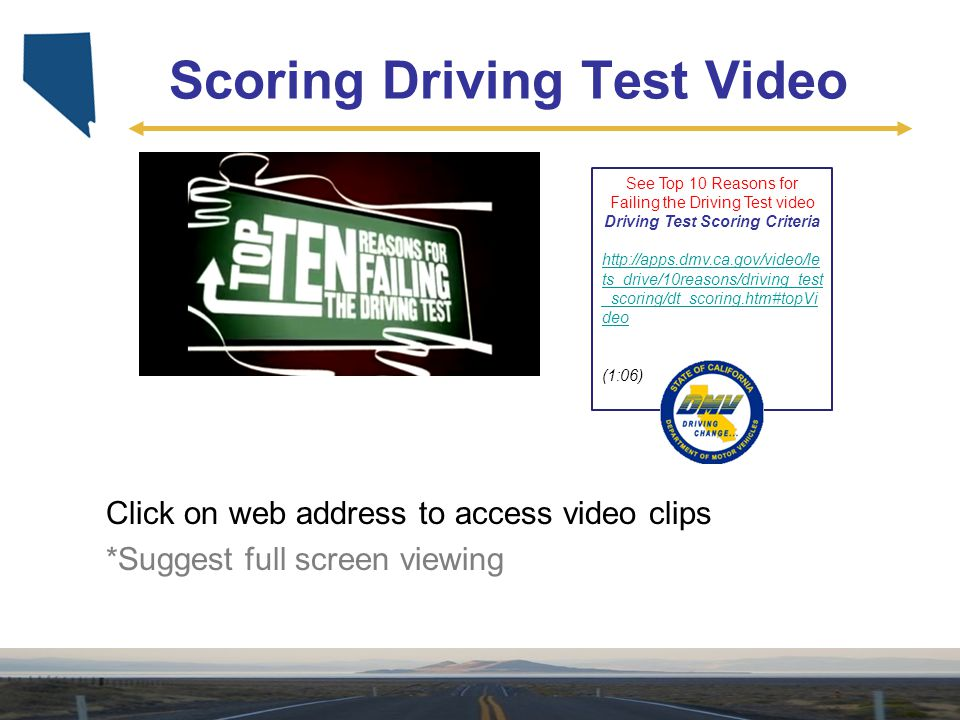 Scoring Driving Test Video