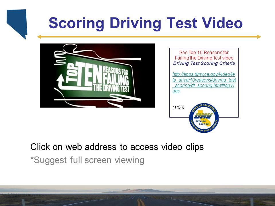 Scoring Driving Test Video